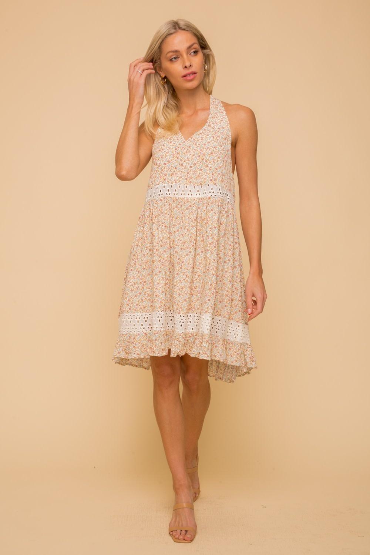Hem & Thread Eyelet Ditsy Floral Halter Dress