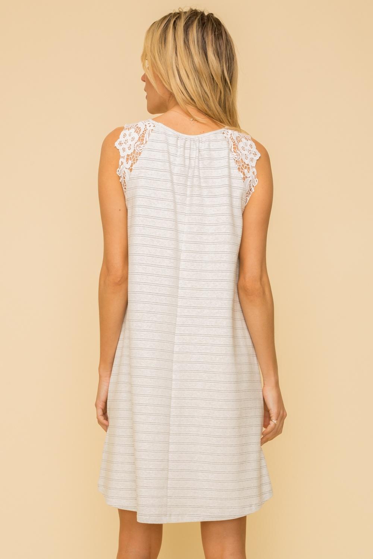 Hem & Thread Pin Stripe Dress w/ Crochet Sleeves