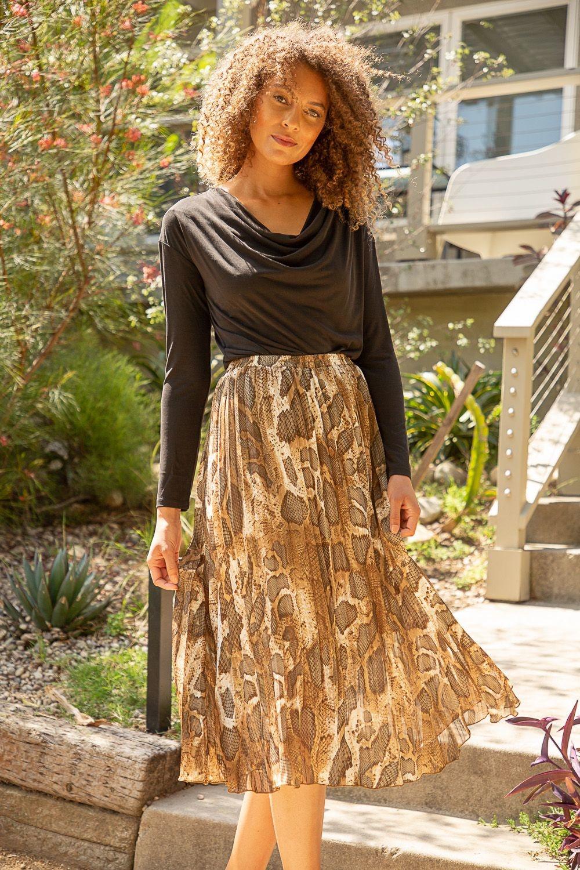 Mystree Animal Print Pleated Skirt w/ Shimmer