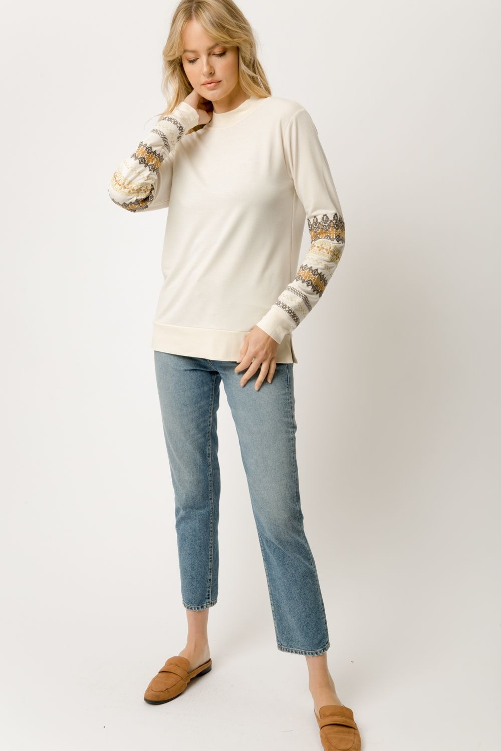 Mystree Embroidered Sleeve Pullover