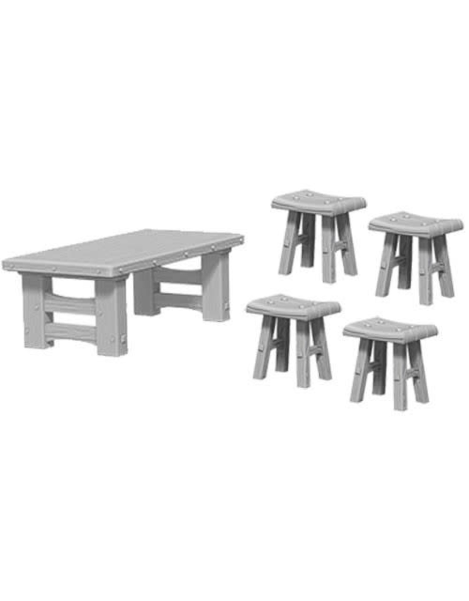 D&D Unpainted Minis: Wooden Table & Stools