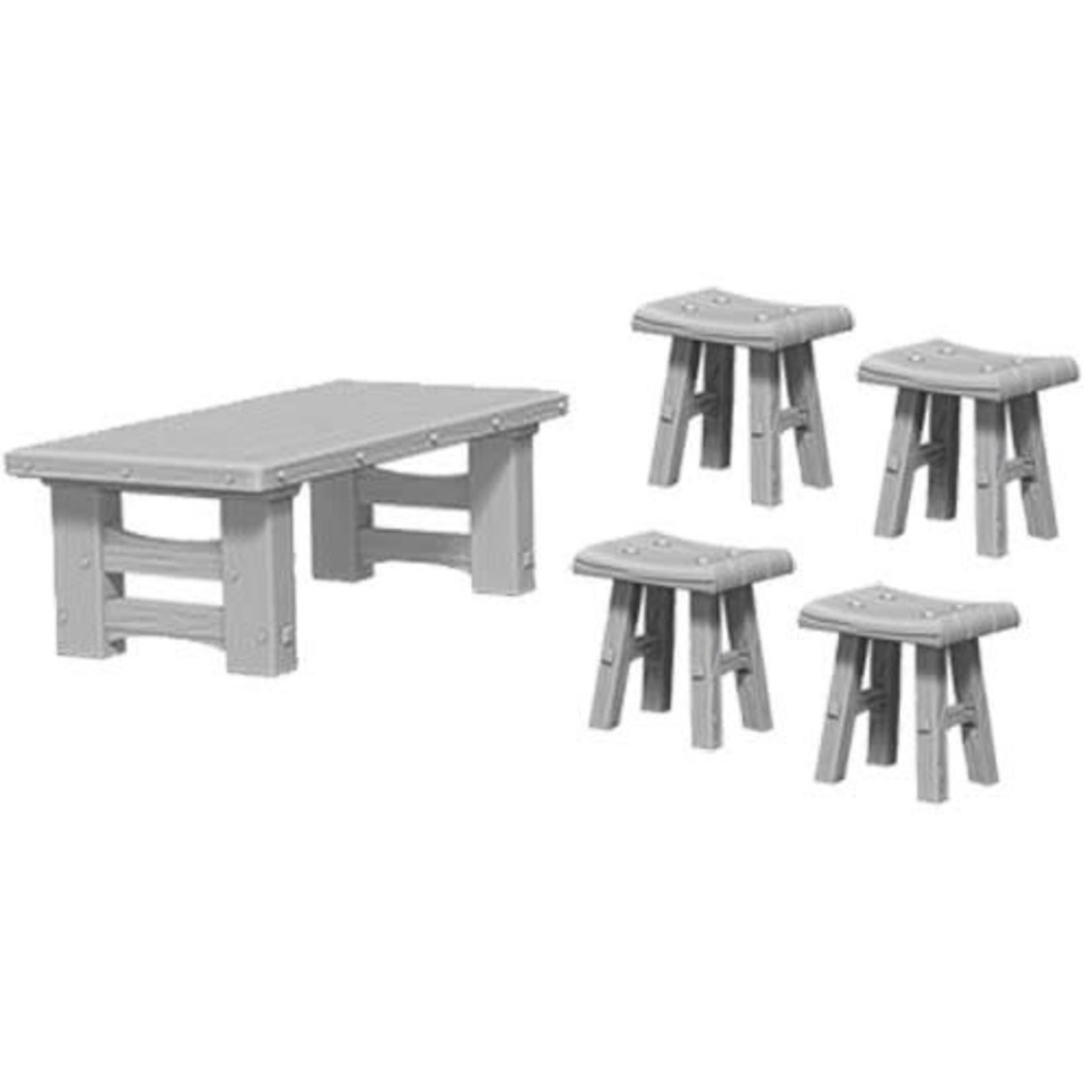 D&D Unpainted Minis: Wooden Table & Stools