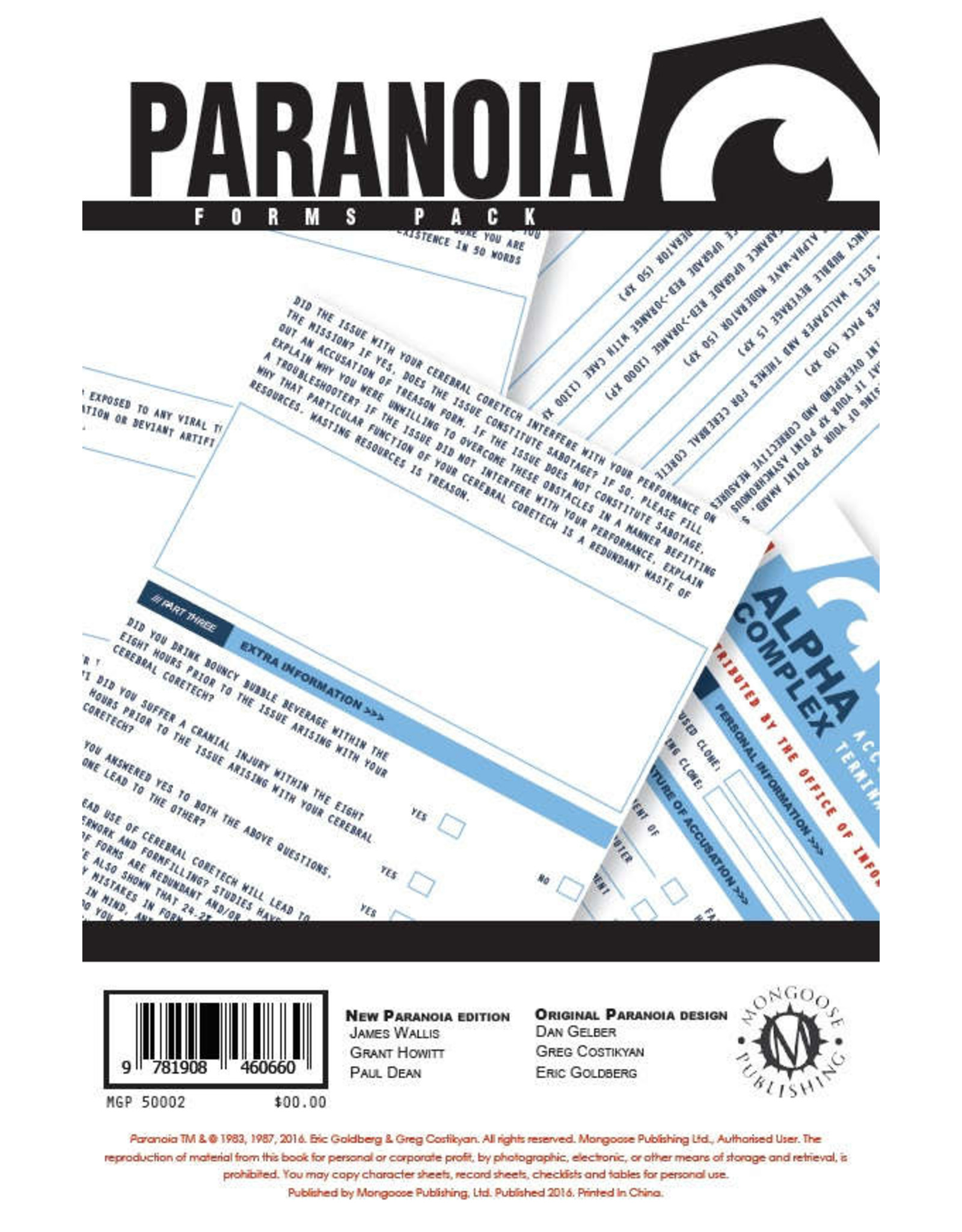Paranoia RPG: Forms Pack