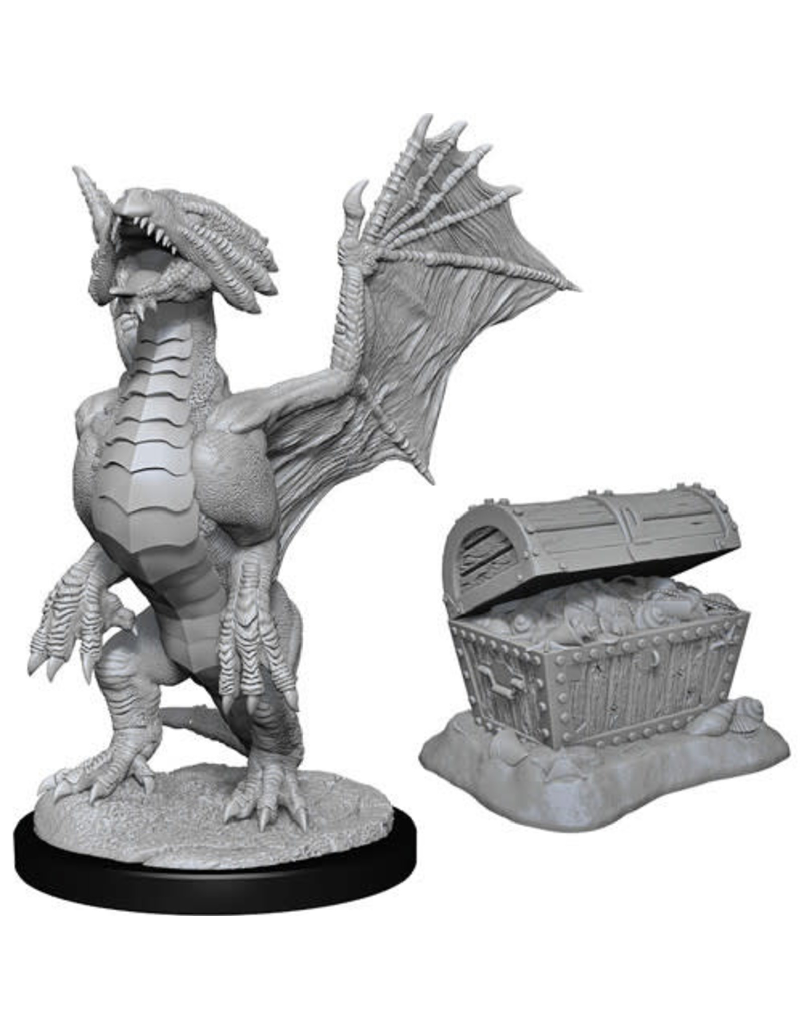 D&D Unpainted Minis: Bronze Dragon Wyrmling & Pile of Sea Found Treasure (Wave 13)