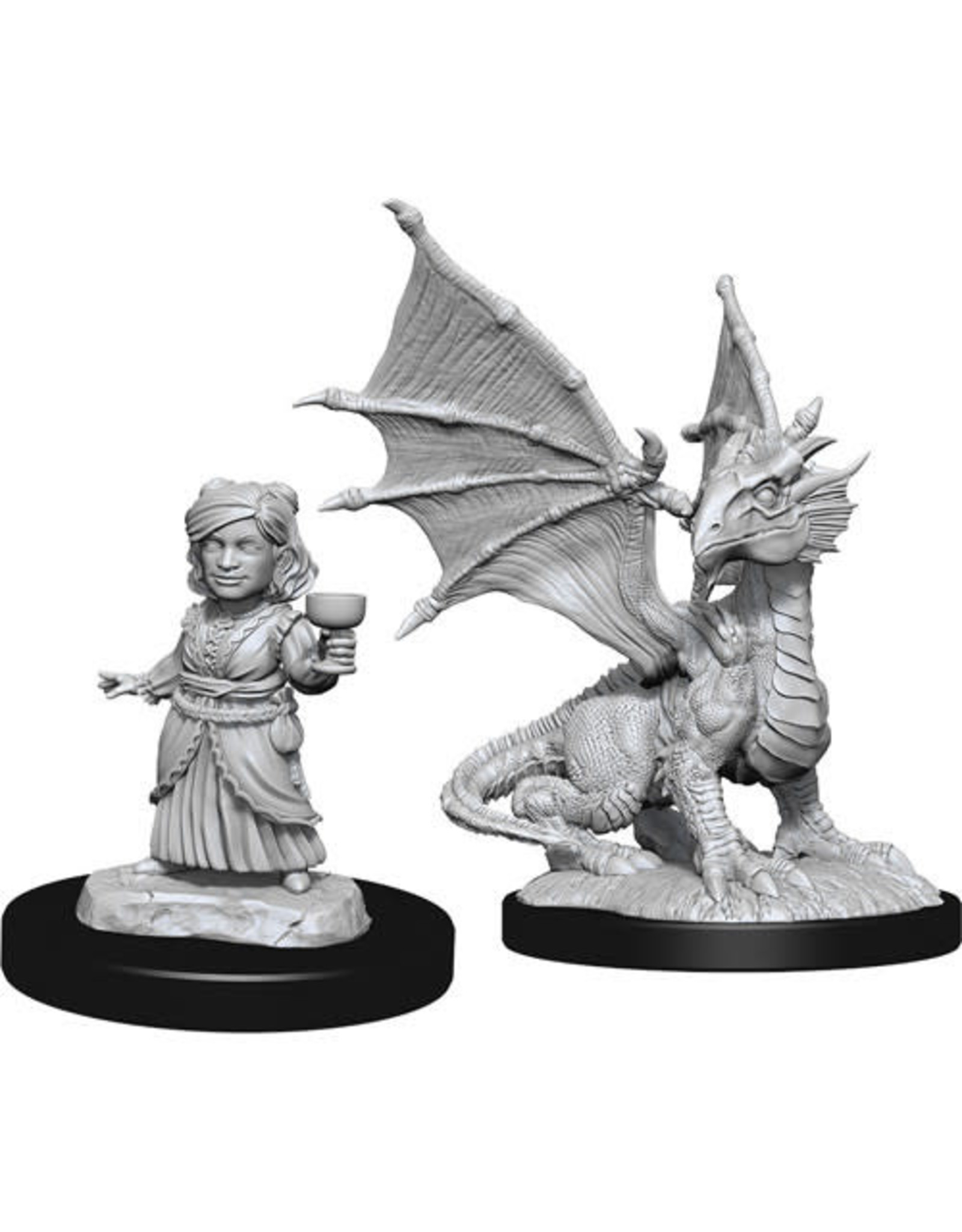 D&D Unpainted Minis: Silver Dragon Wyrmling & Halfling Dragon Friend (Wave 13)