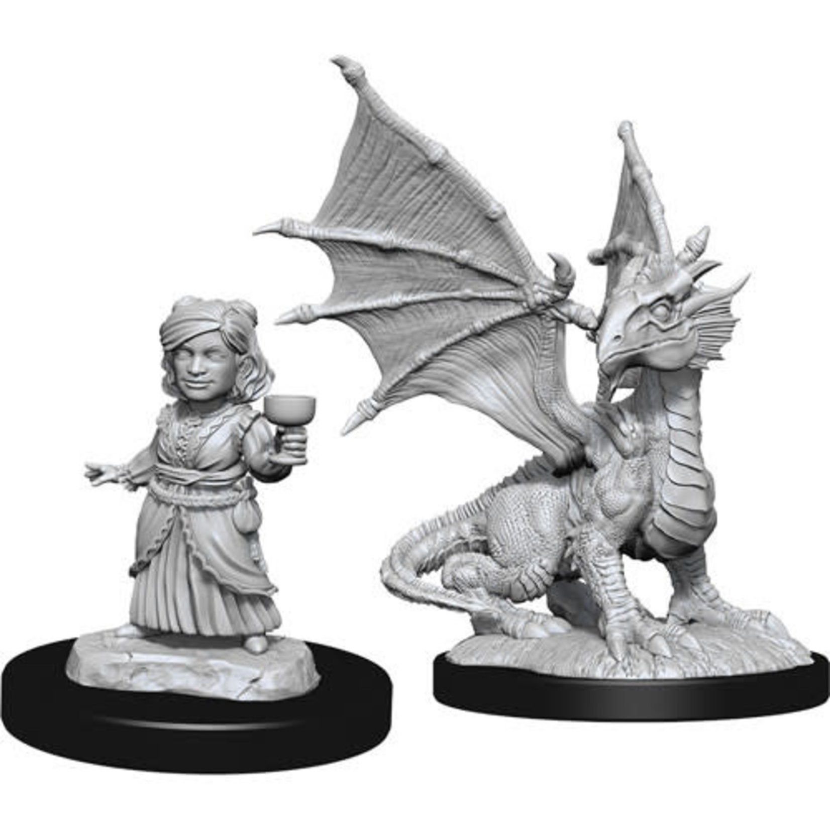 D&D Unpainted Minis: Silver Dragon Wyrmling & Halfling Dragon Friend (Wave 13)