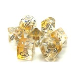 Old School 7 Piece Dice Set: Beach Party - Gold