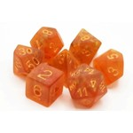 Old School 7 Piece Dice Set: Frosted Firefly - Orange w/ Gold