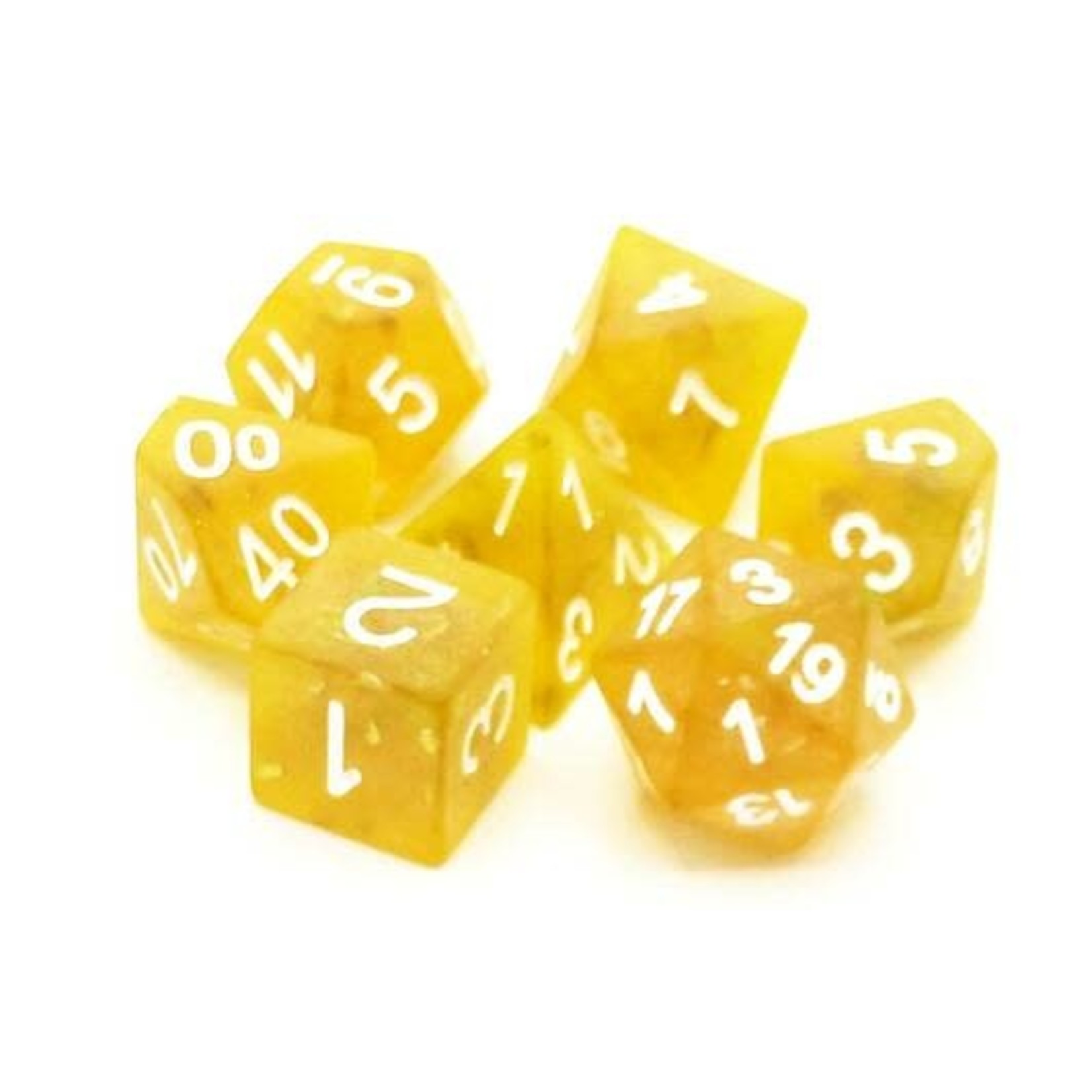Old School 7 Piece Dice Set: Frosted Firefly - Yellow w/ White