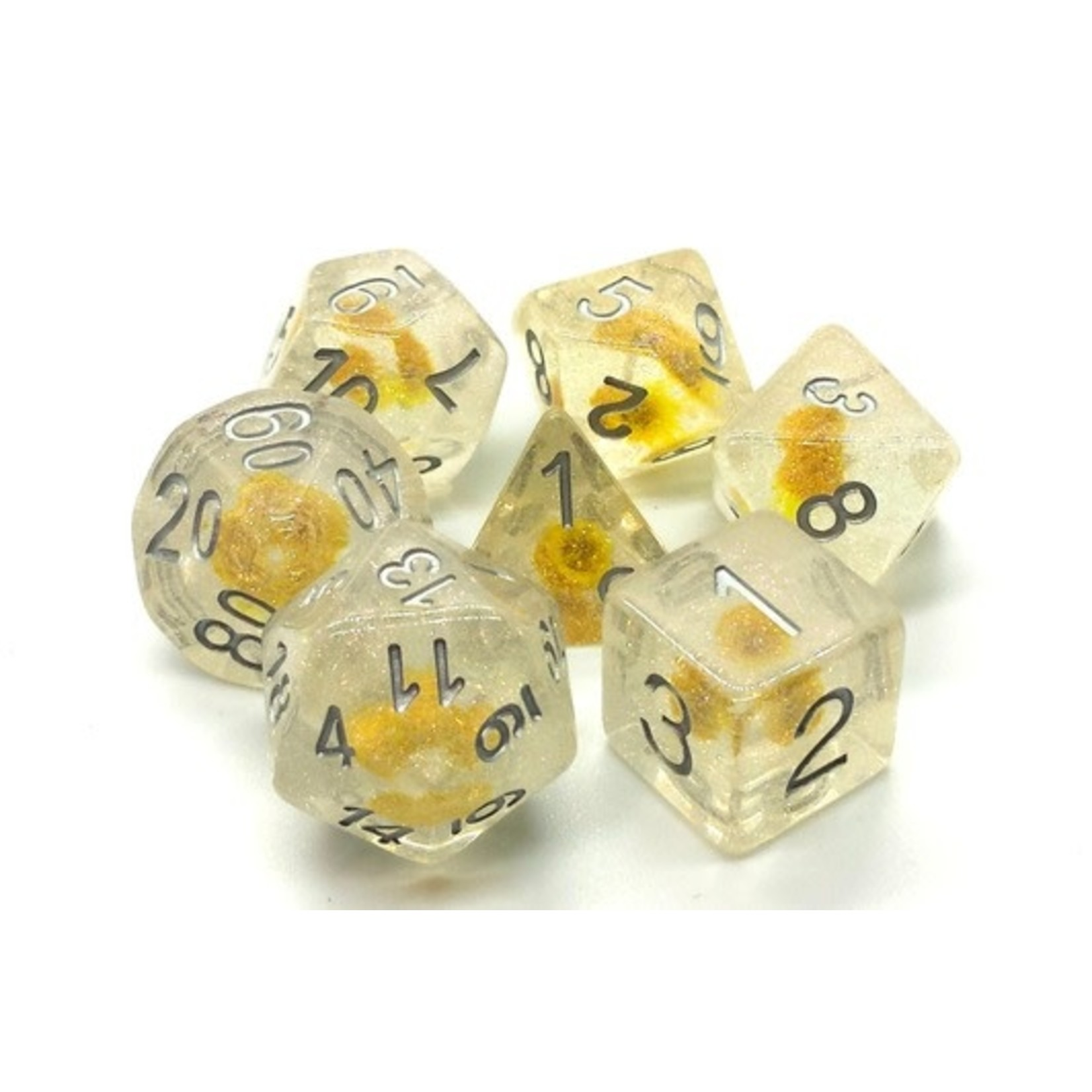 Old School 7 Piece Dice Set: Infused - Iridescent Yellow Flower