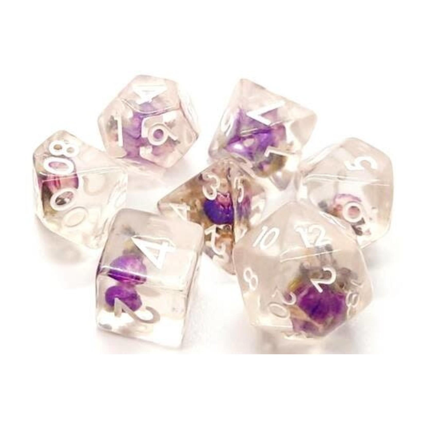Old School 7 Piece Dice Set: Infused - Purple Flower