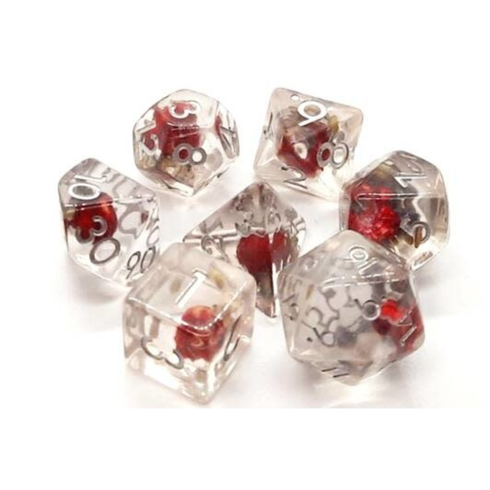 Old School 7 Piece Dice Set: Infused - Red Flower