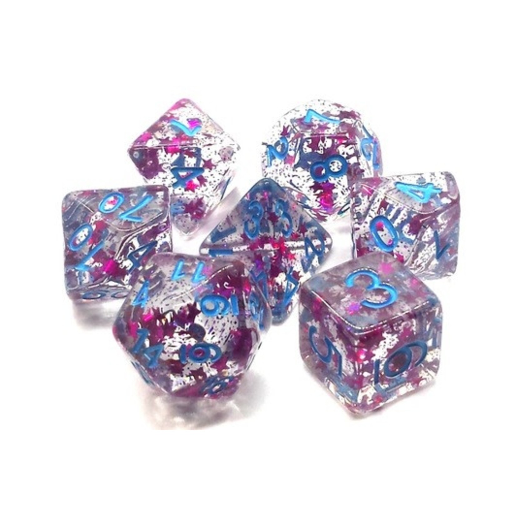 Old School 7 Piece Dice Set: Infused - Red Stars w/ Blue