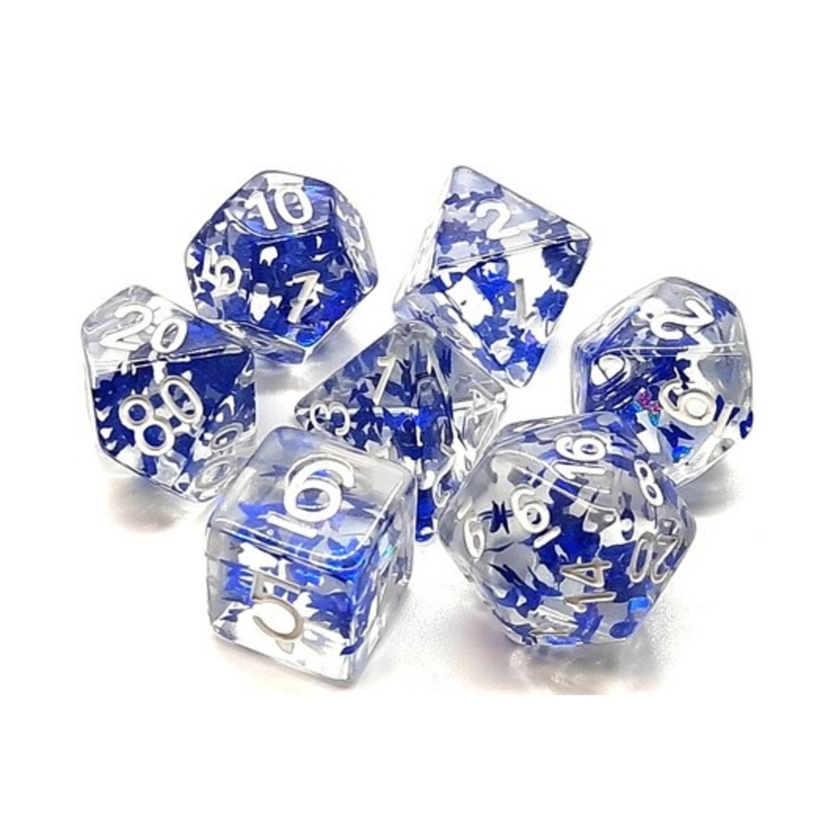 Old School 7 Piece Dice Set: Infused - Sapphire Butterfly