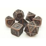 Old School 7 Piece Dice Set: Metal Dragon Scale - Ancient Bronze