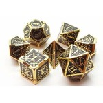 Old School 7 Piece Dice Set: Metal Knights of the Round Table - Black with Gold