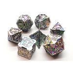Old School 7 Piece Dice Set: Metal Knights of the Round Table - Spectral with Silver