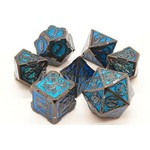 Old School 7 Piece Dice Set: Metal Knights of the Round Table - Black with Turquoise
