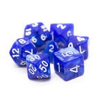 Old School 7 Piece Dice Set: Pearl Drop - Blue