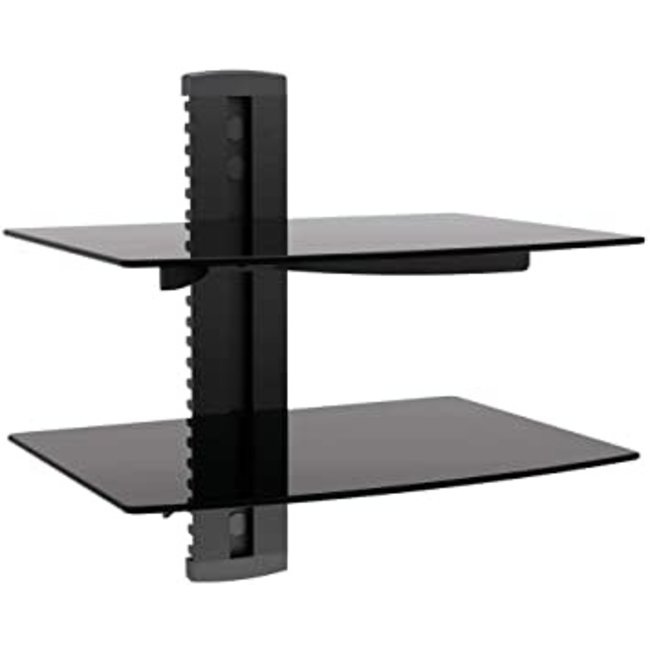 2 Tier Glass Shelf Wall Mounting System with Cable Management (180152)