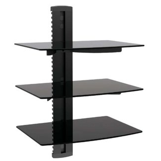 MP 3 Tier Glass Shelf Wall Mounting System with Cable Management (10480)