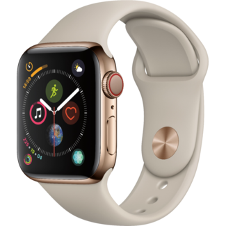 Apple Apple Watch - Series 4 - 40mm - Cellular - Gold Stainless Steel/Stone Sport Band