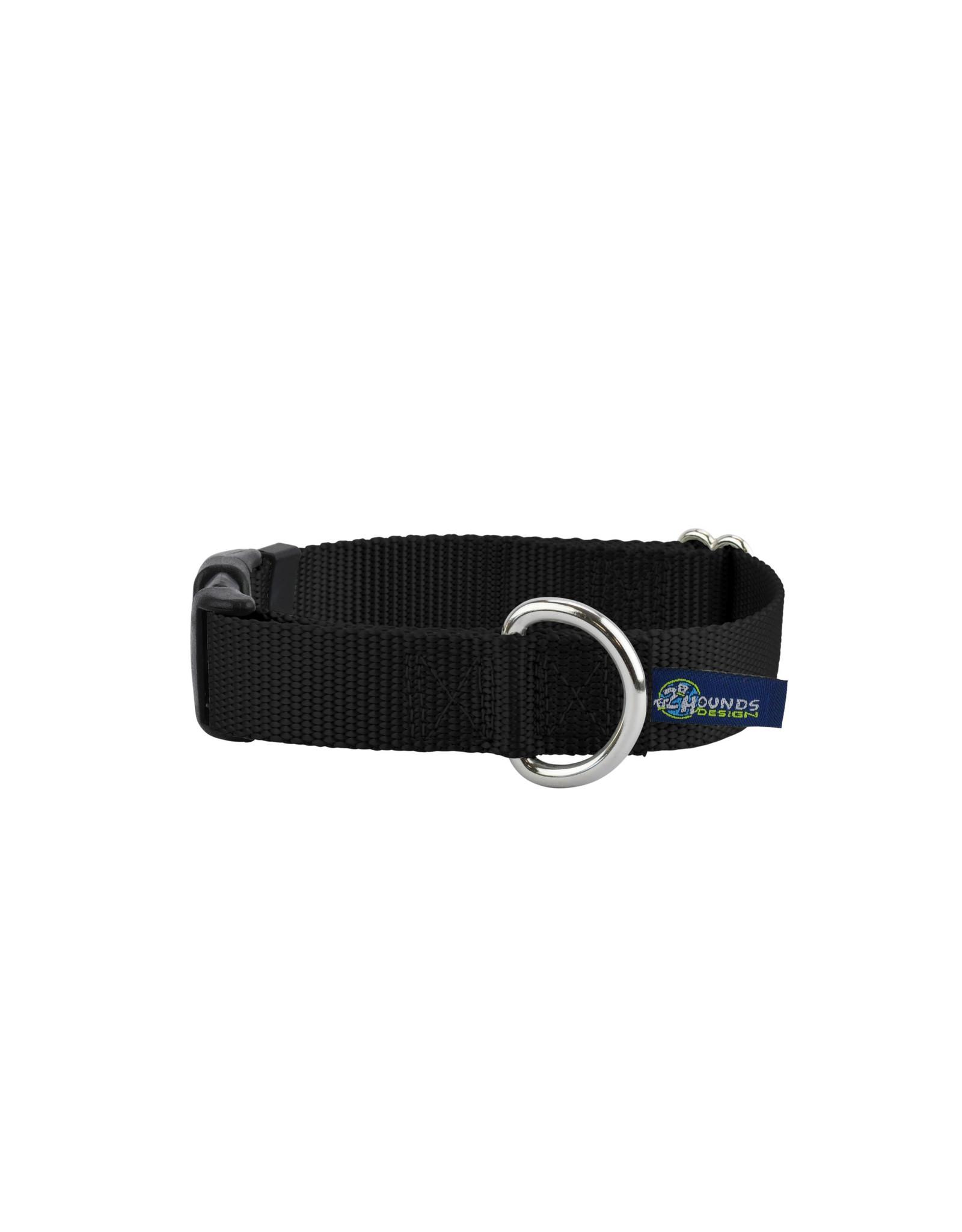 "2 Hounds Design Buckle Collar: Black, 5/8"" S"
