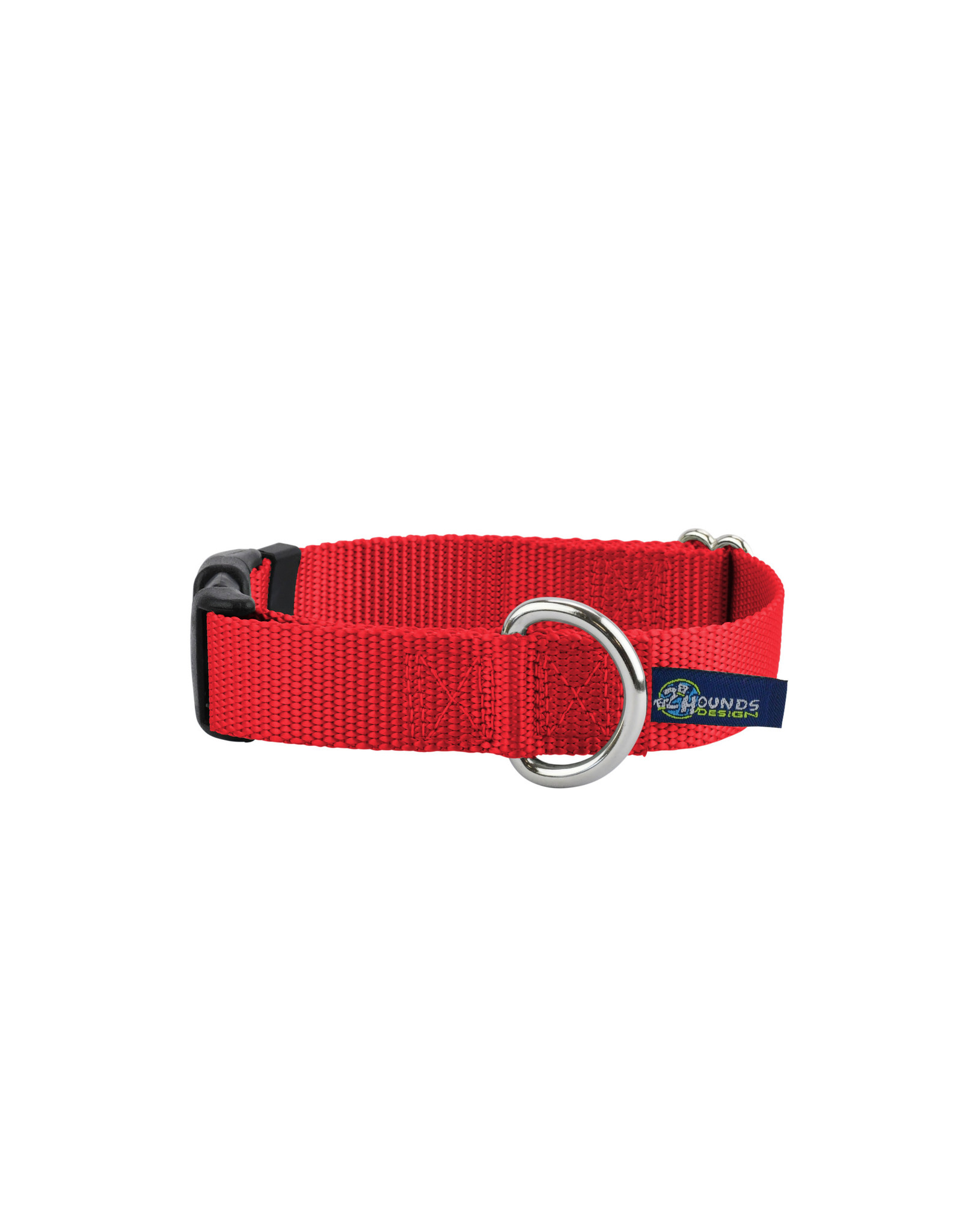 """2 Hounds Design Buckle Collar: red, 1"""" L"""