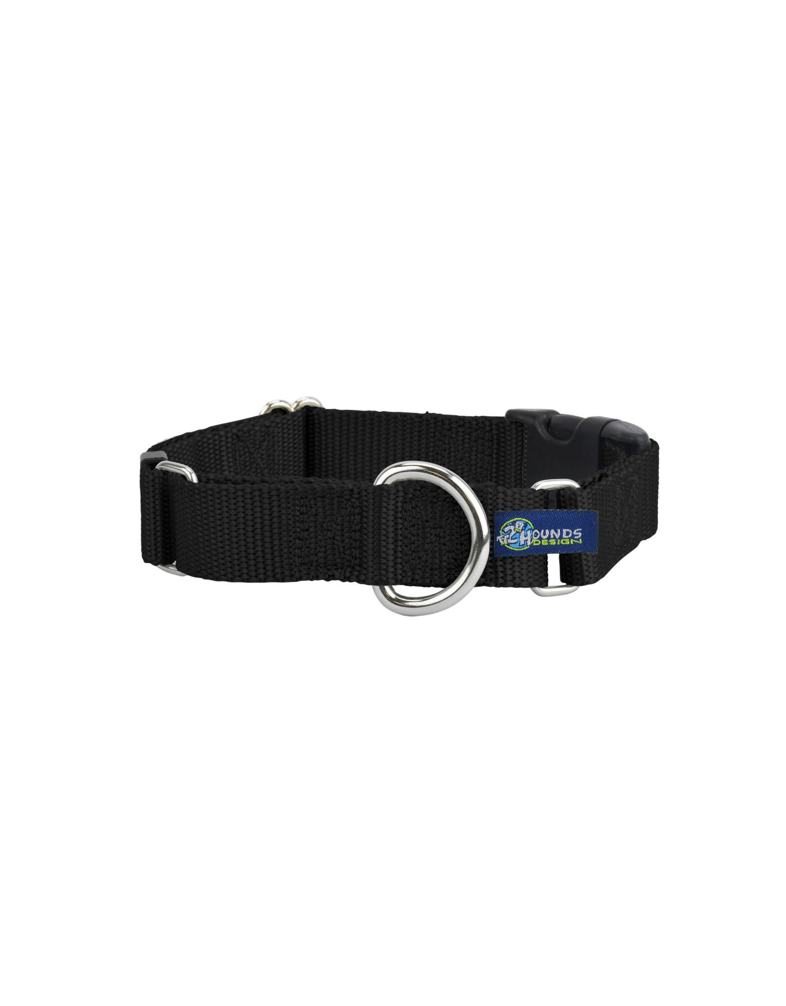 "2 Hounds Design Martingale w/ buckle: Black, 1"" M"