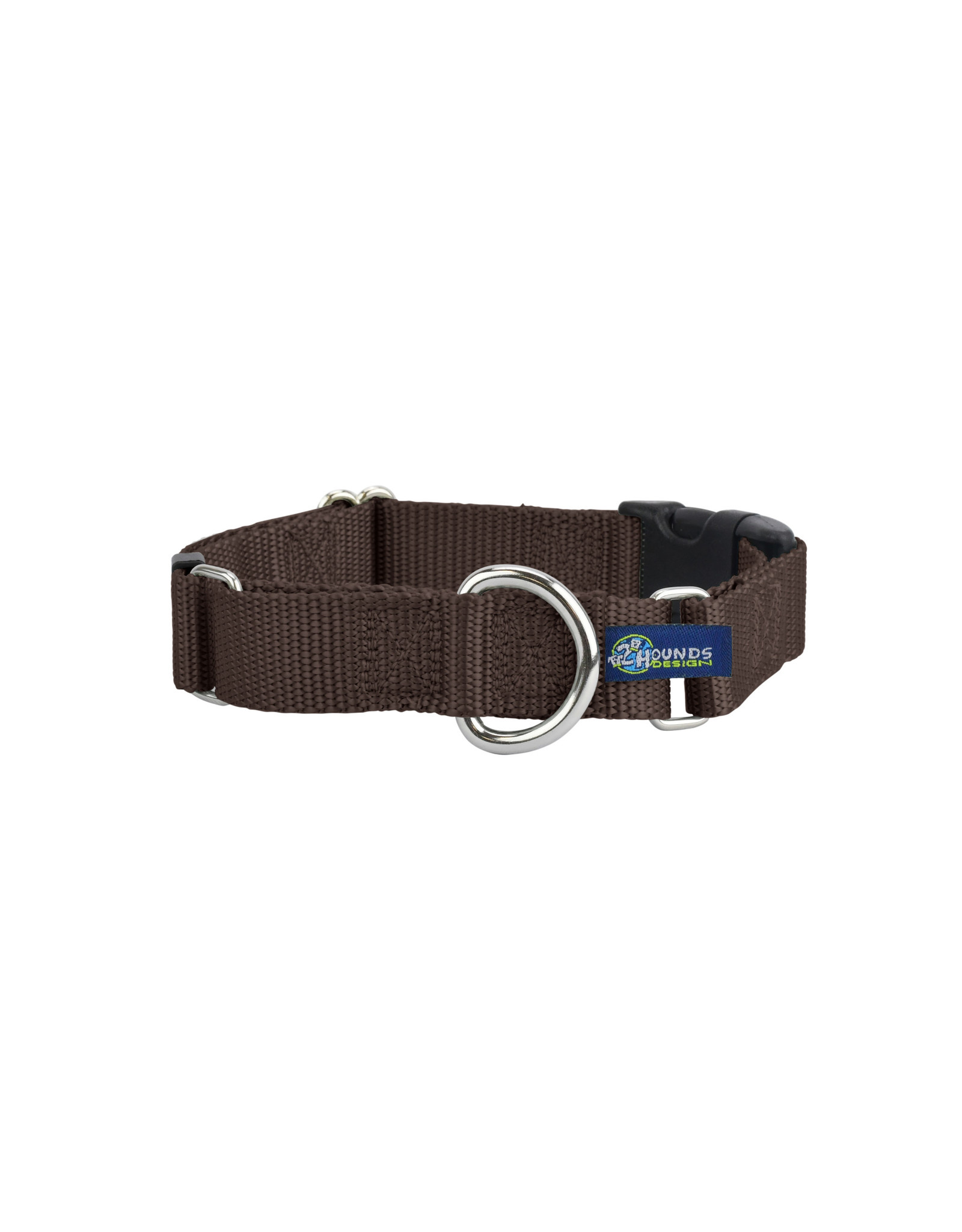 """2 Hounds Design Martingale w/ buckle: Brown, 1"""" XL"""