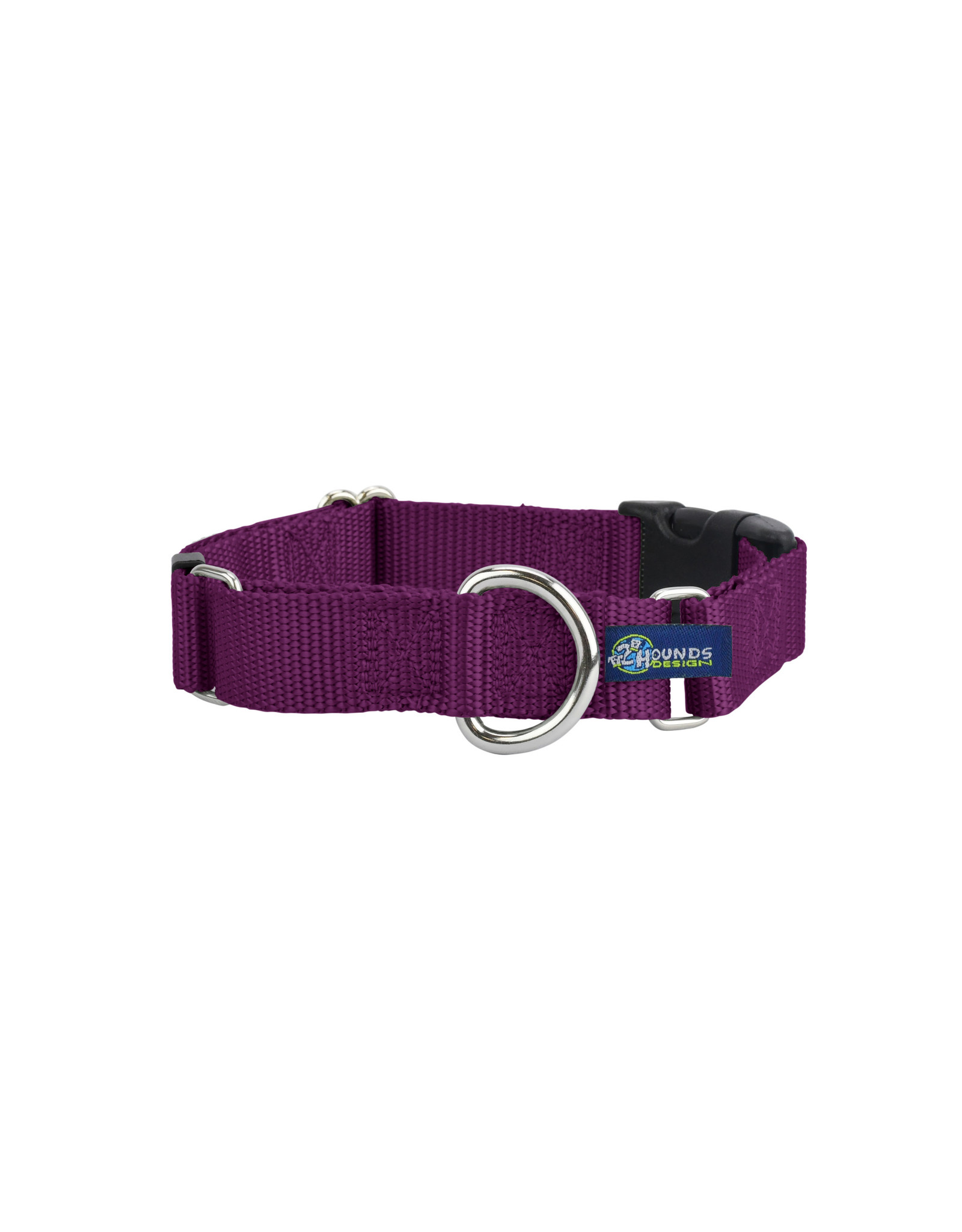 "2 Hounds Design Martingale w/ buckle: Burgundy, 1"" M"