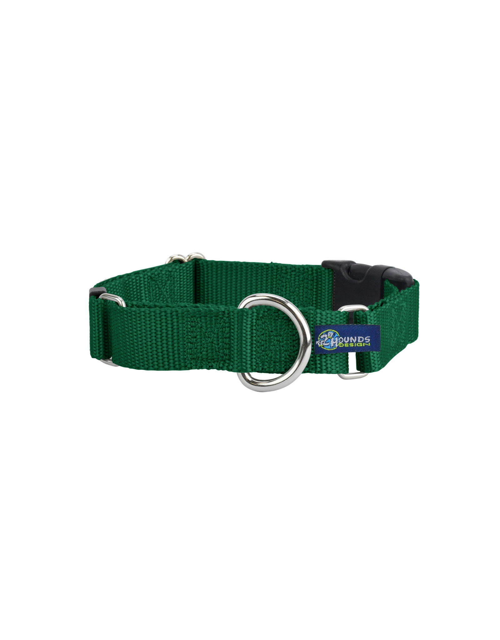 "2 Hounds Design Martingale w/ buckle: Kelly Green, 1"" M"