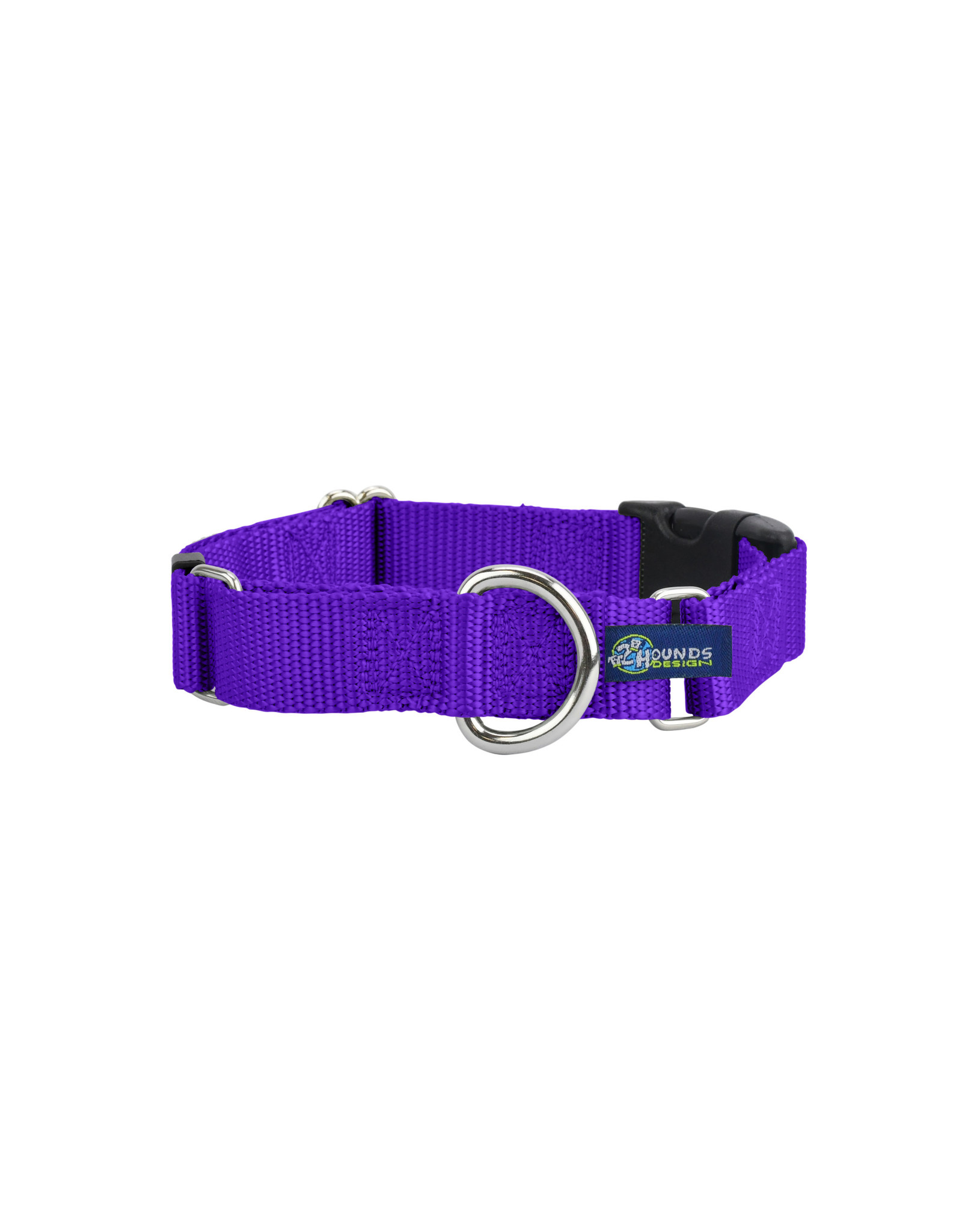"2 Hounds Design Martingale w/ buckle: Purple, 5/8"" M"