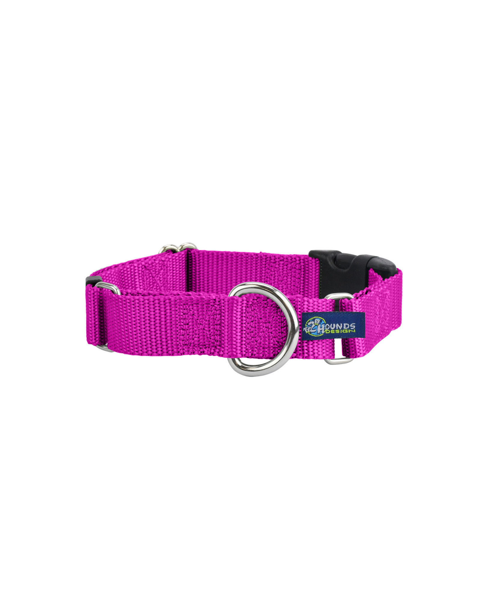 """2 Hounds Design Martingale w/ buckle: Raspberry, 1"""" L"""