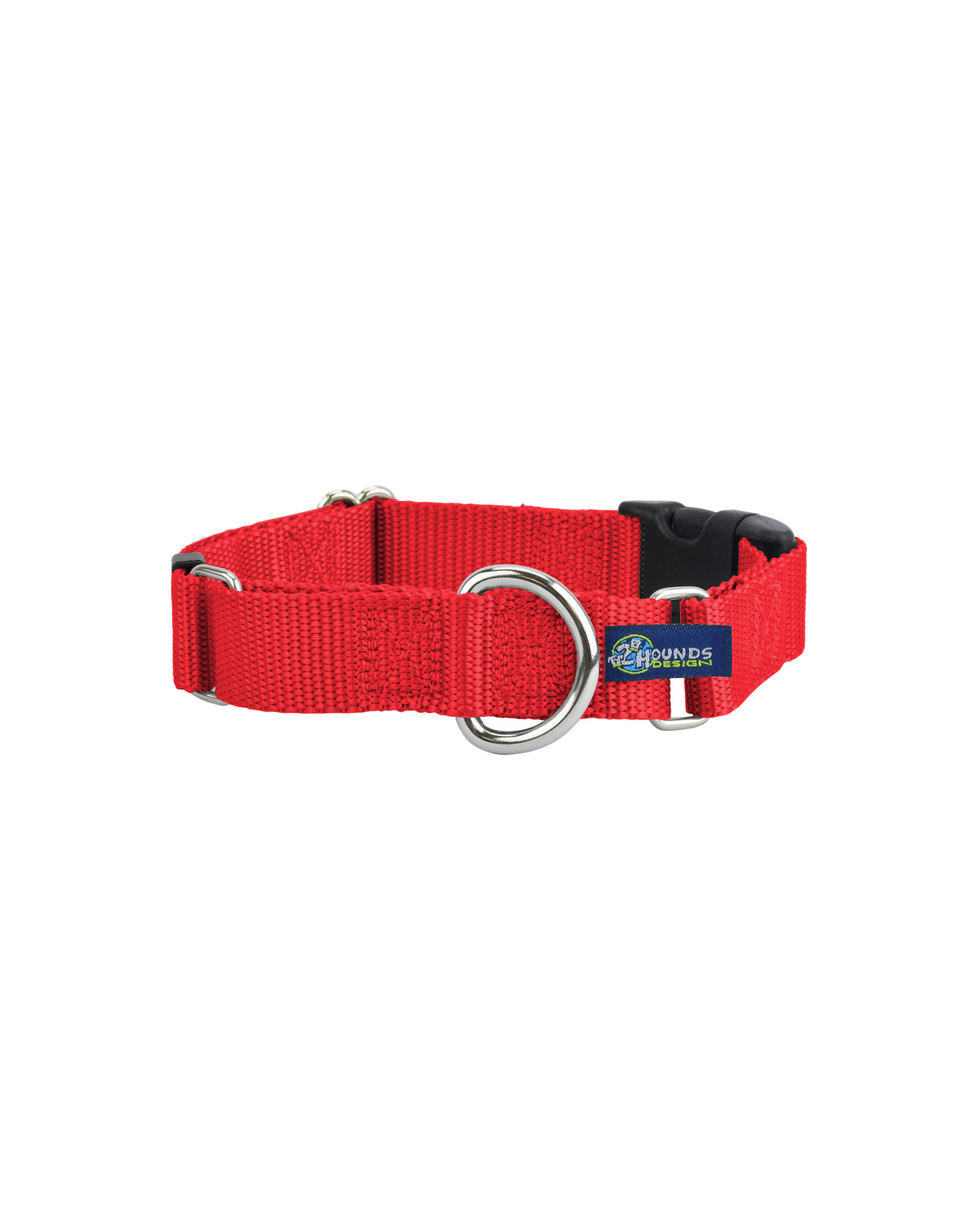 "2 Hounds Design Martingale w/ buckle: Red, 1"" L"