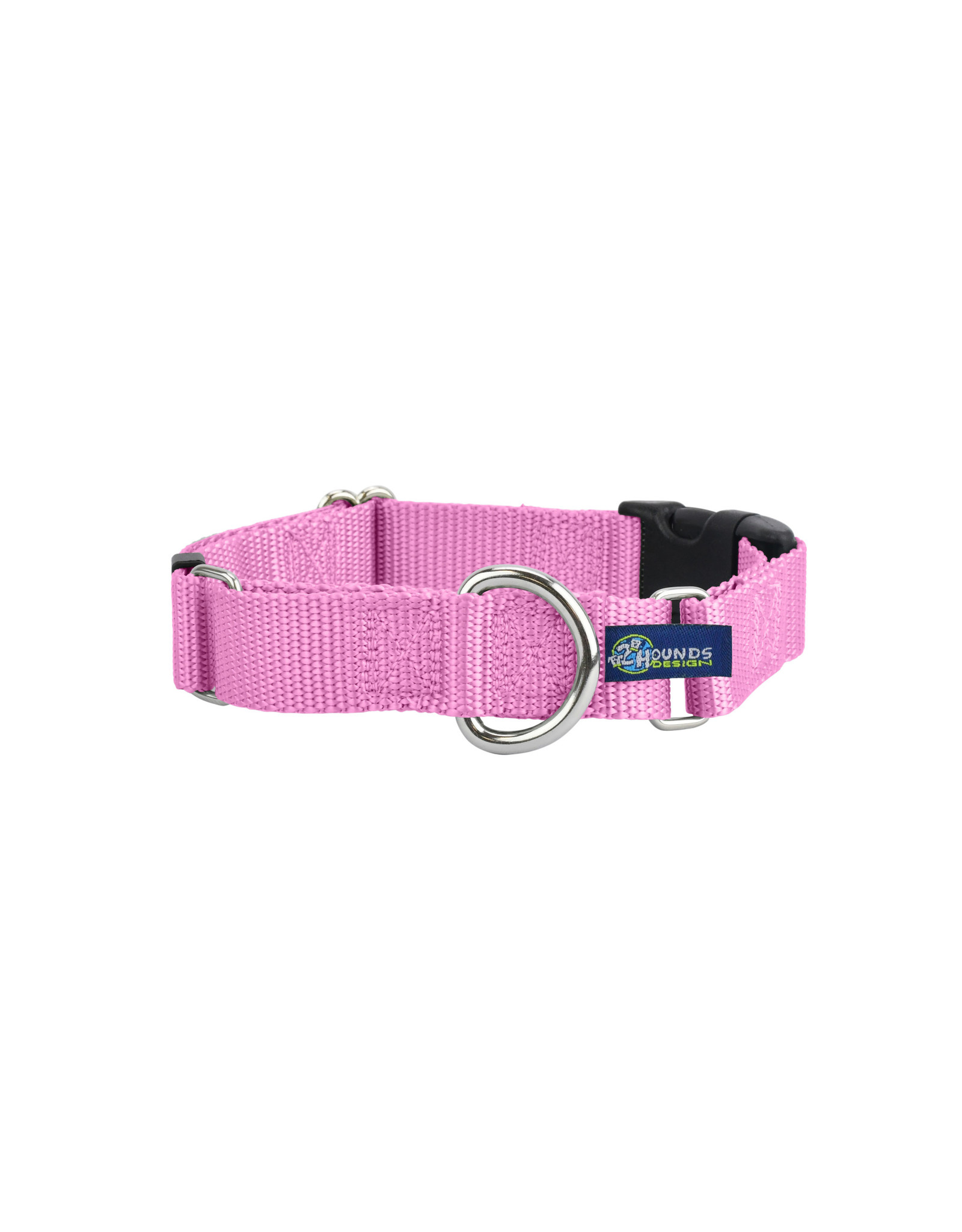 "2 Hounds Design Martingale w/ buckle: Rose Pink, 1"" L"