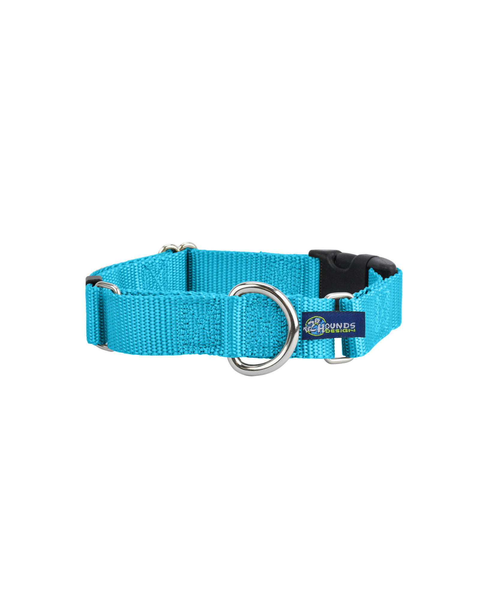 """2 Hounds Design Martingale w/ buckle: Turquoise, 1"""" M"""