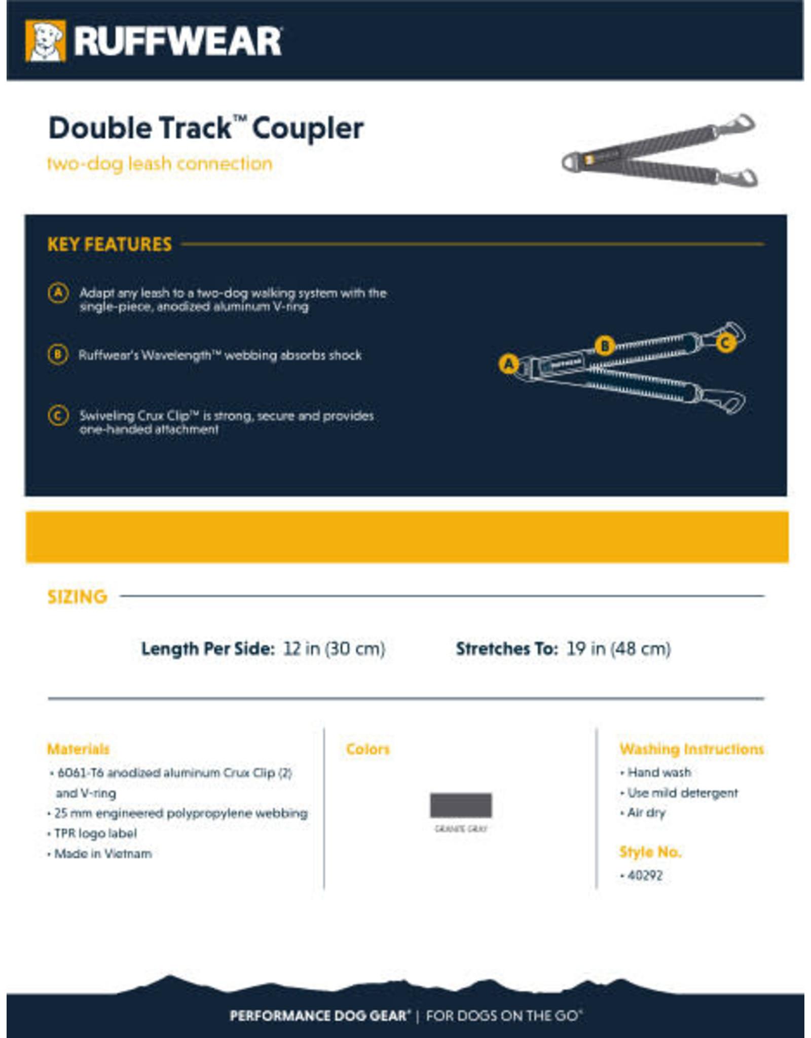 Ruffwear Double Track Coupler: Granite Gray, os