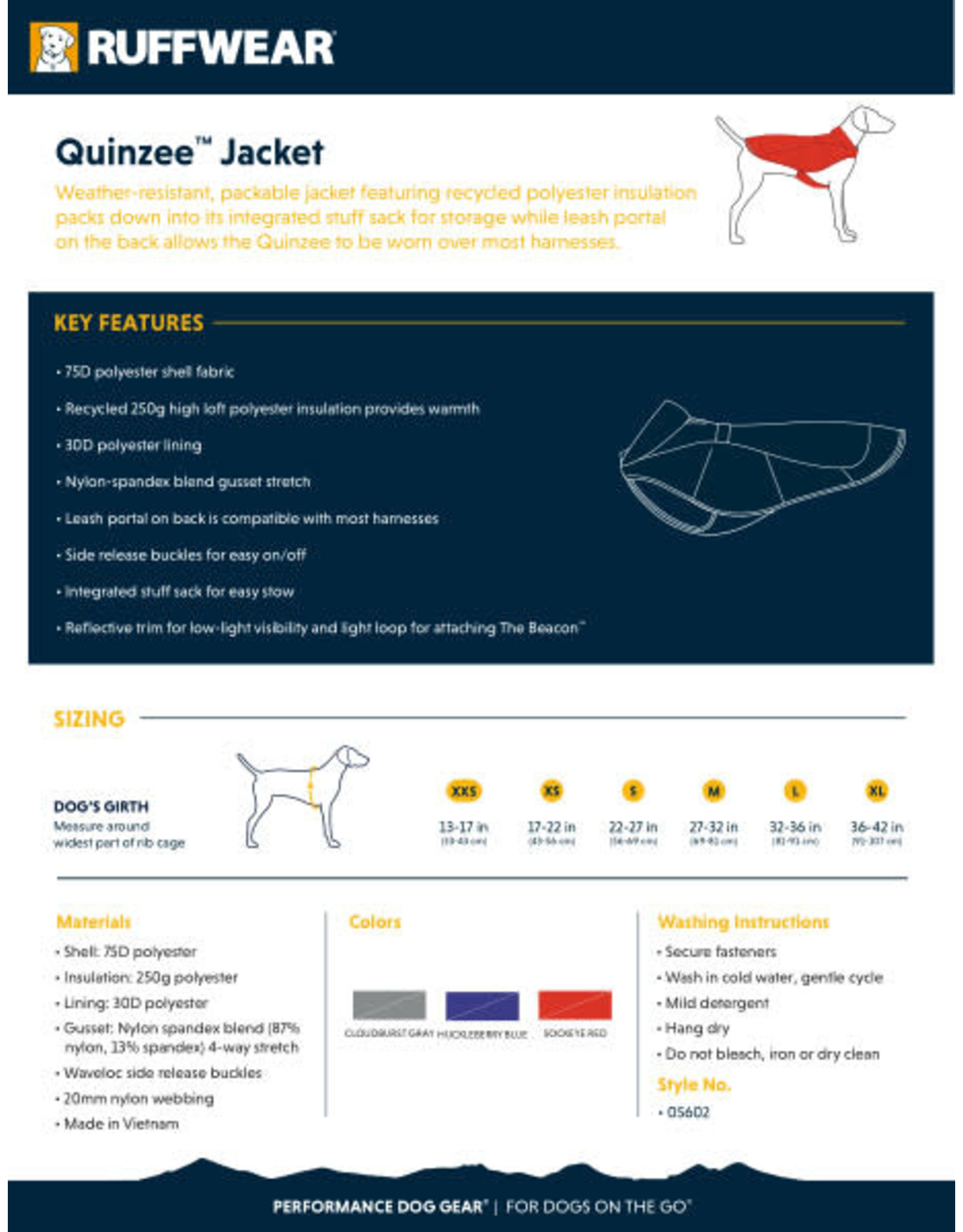 Ruffwear Quinzee Jacket: Sockeye Red, M