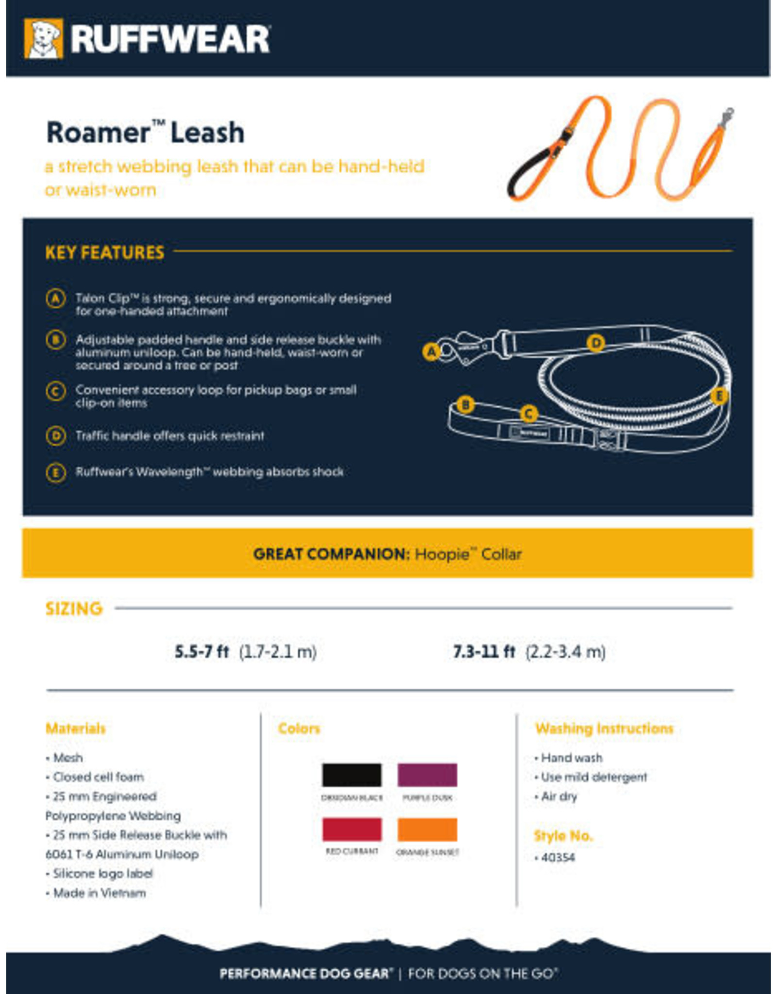 Ruffwear Roamer Leash: Orange Sunset, 7.3 - 11 ft