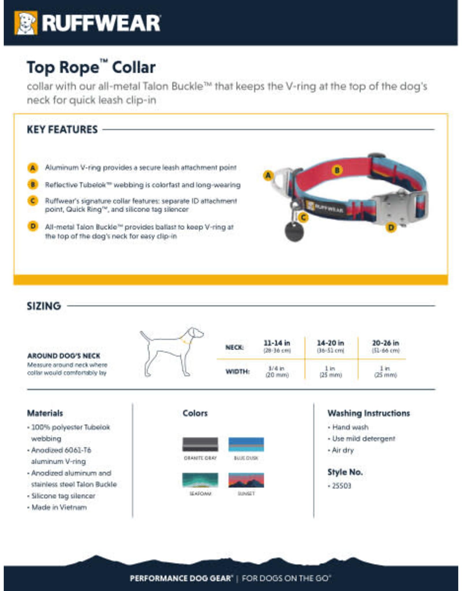 Ruffwear Top Rope Collar: Seafoam, 11 - 14 in