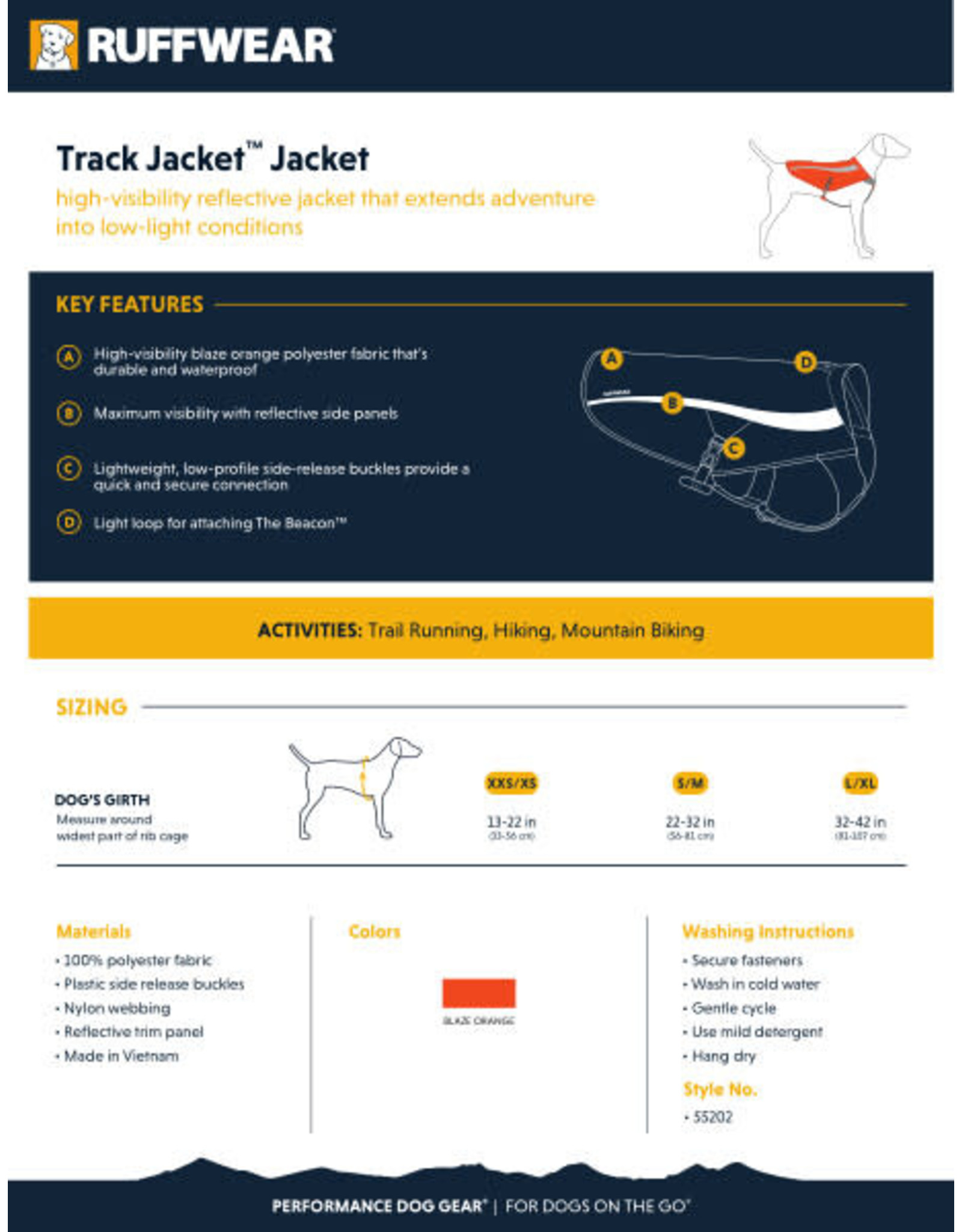 Ruffwear Track Jacket: Blaze Orange, L/XL