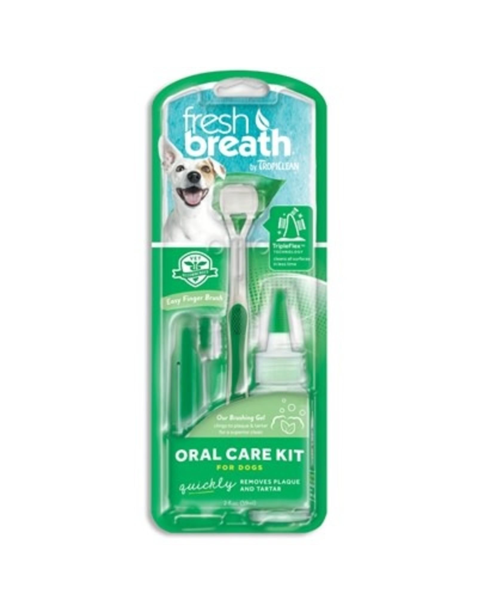 Tropiclean Fresh Breath Oral Care Kit: Large Toothbrush & Brushing Gel, Large