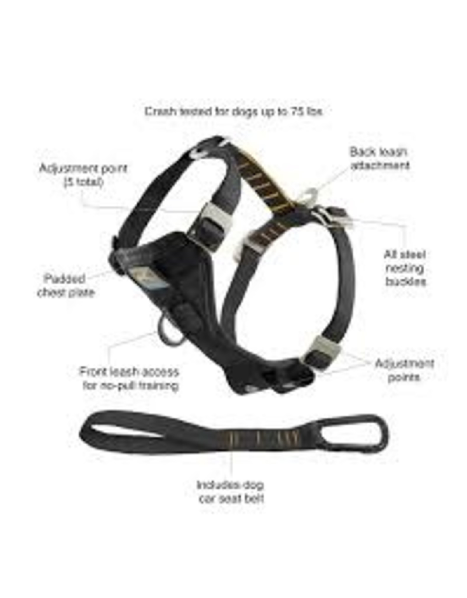 Kurgo Enhanced Strength Tru-Fit Car Harness: Black, L