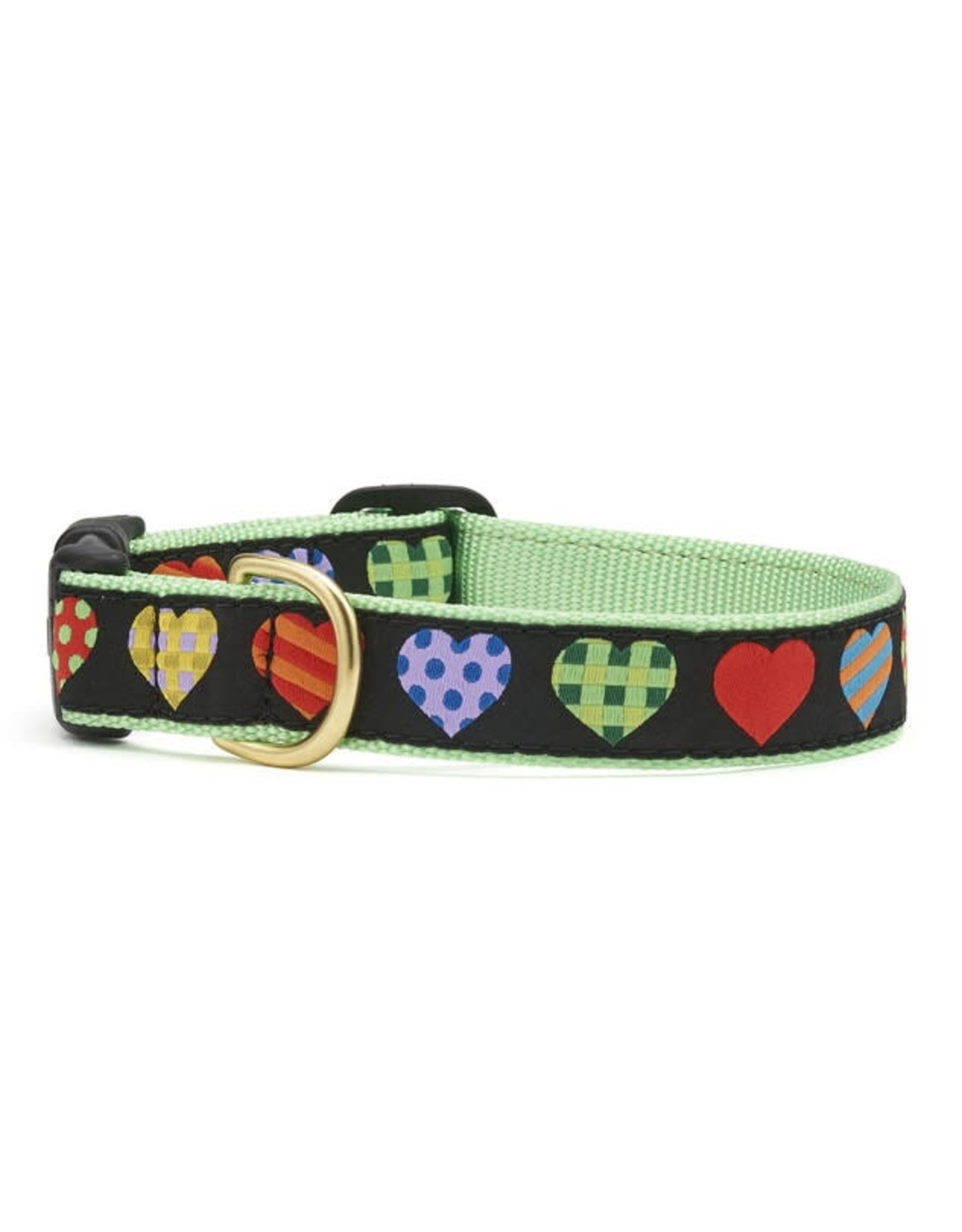 Up Country Colorful Hearts Collar: Narrow, S