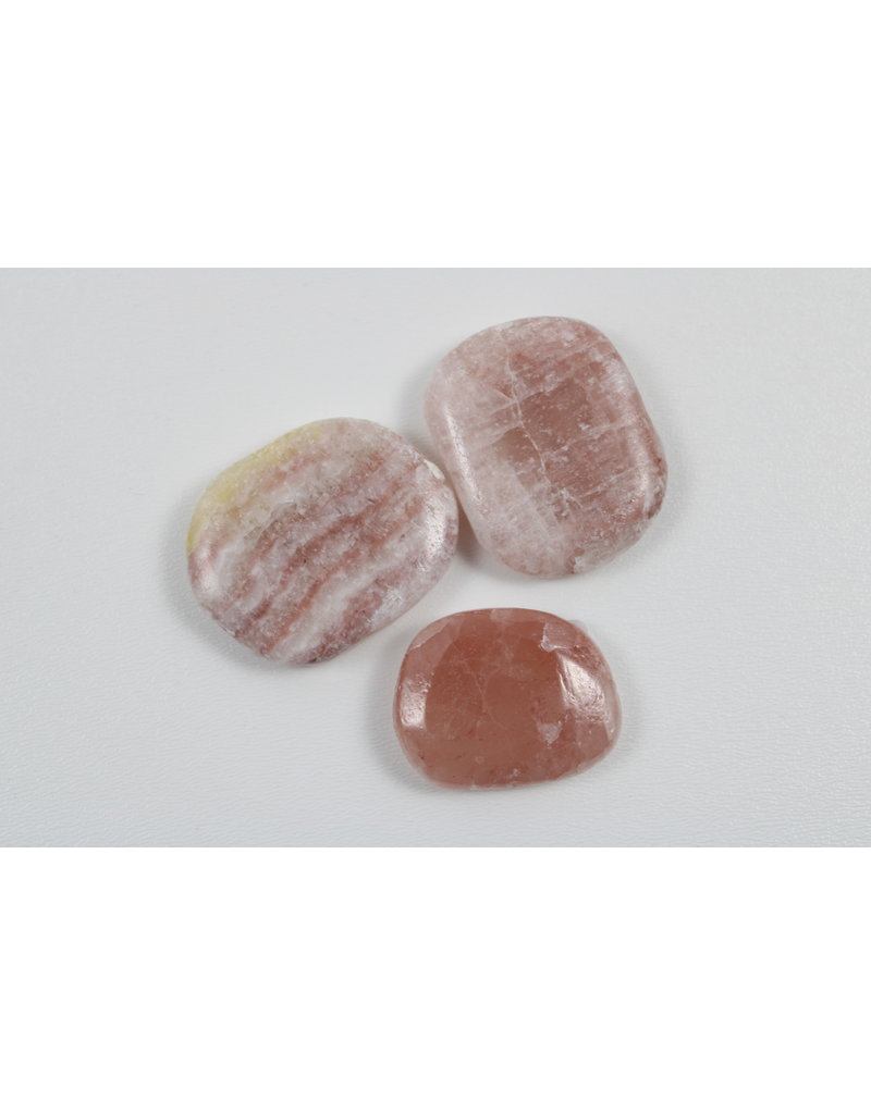 Salmon Calcite Palm Stone - Pakistan