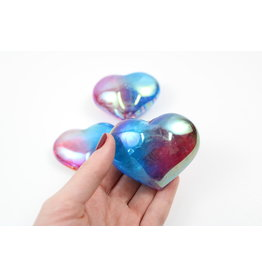 Rainbow Aura Quartz Hearts