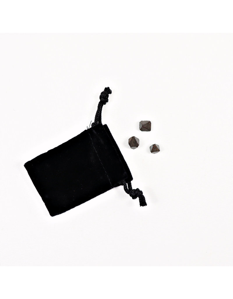 Magnetite Octahedron Crystals (3) in Velvet Pouch