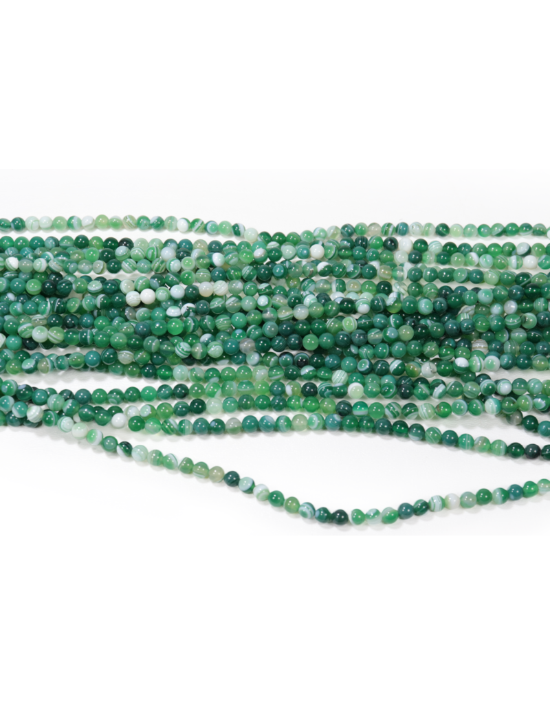 Green Banded Agate Round 6mm Dyed