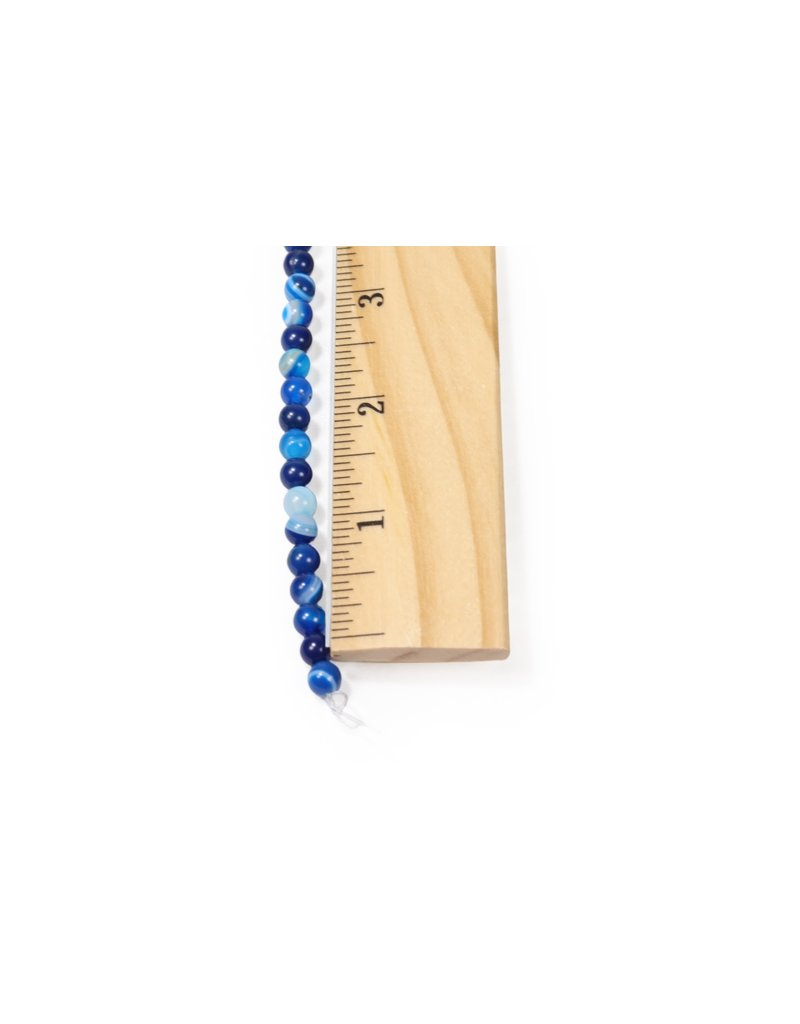 Blue Banded Agate Round 6mm Dyed